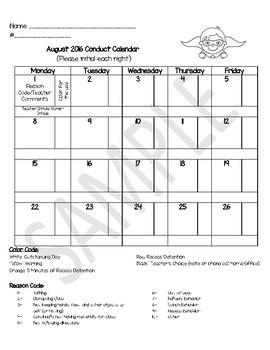 Superhero Monthly Student Conduct Calendars