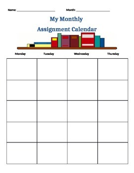Monthly Student Planner