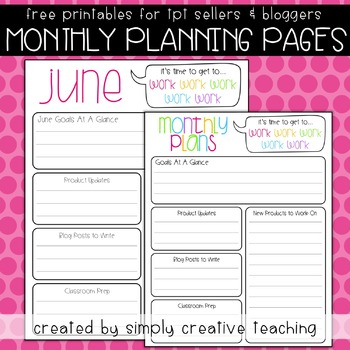 Monthly TPT Seller Planning Pages