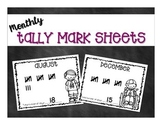 Monthly Tally Mark Pages for Calendar Time