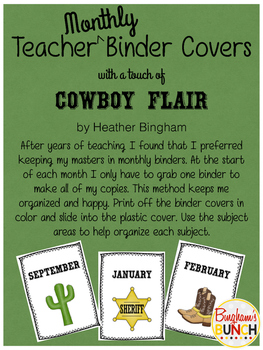 Monthly Teacher Binder Covers with Cowboy Flair