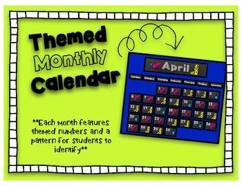 Monthly Themed Calendar- Chalkboard Style