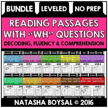 "BUNDLE Reading Comprehension Passages with ""WH"" Questions"