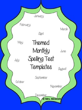 Monthly Themed Spelling Tests Templates/Coloring Page Spel