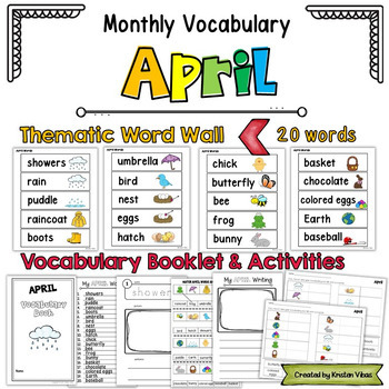 April Vocabulary: Word Wall, Booklet and Activities