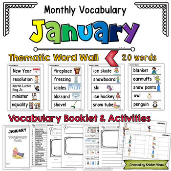 Monthly Themed Vocabulary: January Word Wall and Booklet