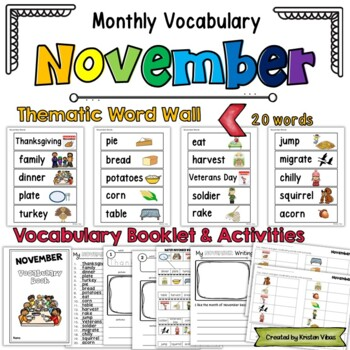 Monthly Vocabulary: November Word Wall and Booklet