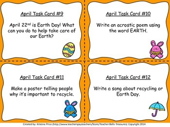 Monthly Themed Writing Task Cards- April