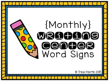 Monthly Writing Center Word Signs