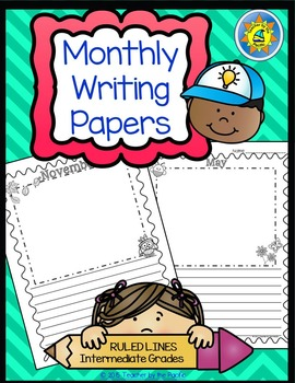 Monthly Writing Papers #1-RULED Lines -- Journals, Writing