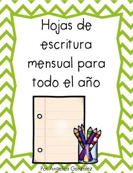 Monthly Writing Papers (Spanish- hojas de escritura)