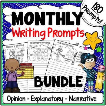Monthly Themed Writing Prompts {Months of the Year Illustr