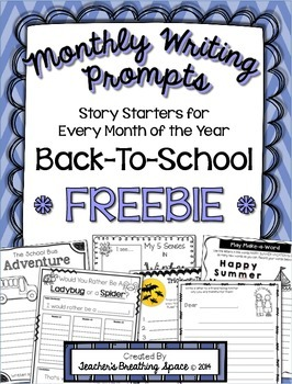 Monthly Writing Prompts --- Back To School / August *FREEBIE*