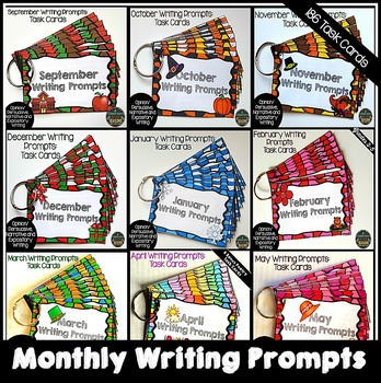 Monthly Writing Prompts - Task Cards