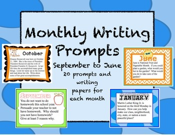 Monthly Writing Prompts Task Cards and Writing Papers