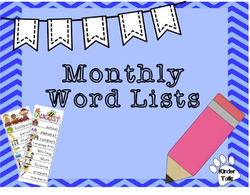 Monthly Writing Lists