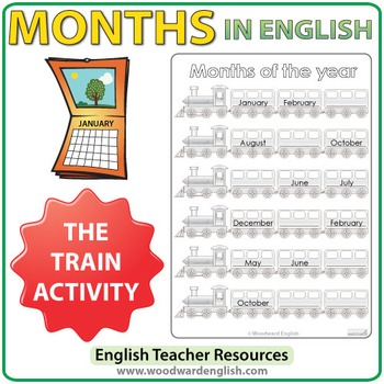 Months in English - Train Activity Worksheets