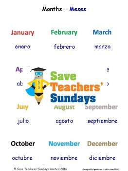 Months in Spanish Worksheets, Games, Activities and Flash Cards
