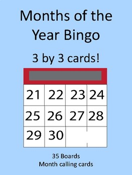 Months of the Year 3 by 3 BINGO!