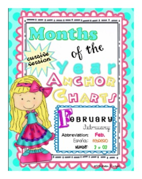 Months of the Year Anchor Charts (Cursive Version)