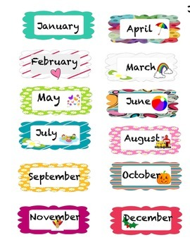 Months of the Year, Birthday Charts