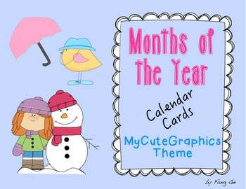 Months of the Year Calendar Cards - MyCuteGraphics Theme (
