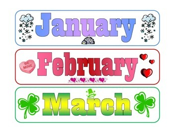 Months of the Year Calendar Labels
