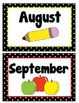 Months of the Year Cards- Black/White Polka Dot