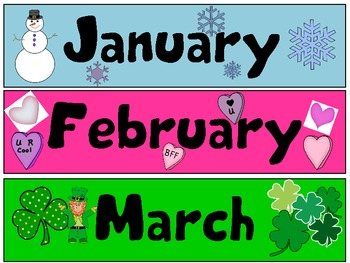 Months of the Year Cards