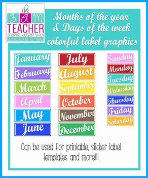 Months of the Year & Days of the Week Colorful Clipart Labels