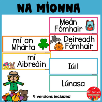 Months of the Year Flachcards (Gaeilge) in IRISH