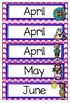 Months of the Year Header-Pink Chevron-Word Wall, Bulletin Board