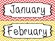 Months of the Year Labels - Chevron