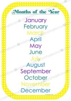 Months of the Year Poster and Card Set
