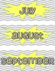 Months of the Year Posters & Calendar Cards- Grey & Yellow