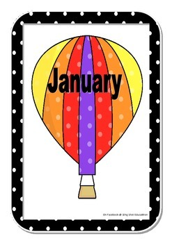 Months of the year Hot Air Balloon theme and Days of week posters