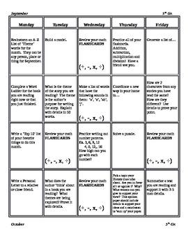 Montly 5th Grade Common Core Homework