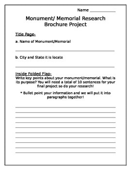 Monument & Memorial Brochure Project Outline