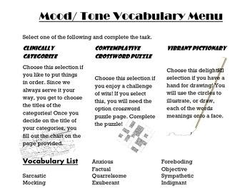 Mood/ Tone/ Characteristic Vocabulary Menu