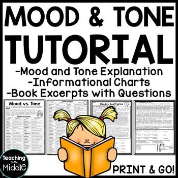 Mood vs. Tone Tutorial Reading Comprehension Worksheet, Mi