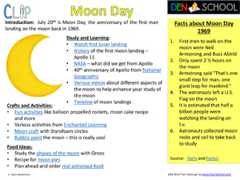 Moon Day CLIP (Creative Learning in a Pinch)  July 20th