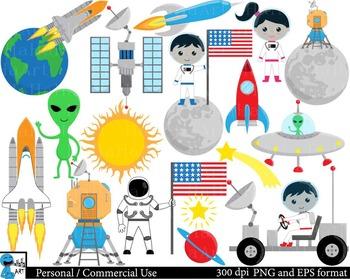 Moon Landing Digital Clip Art Graphics Personal, Commercia
