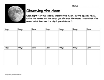 Moon Observation Sheet