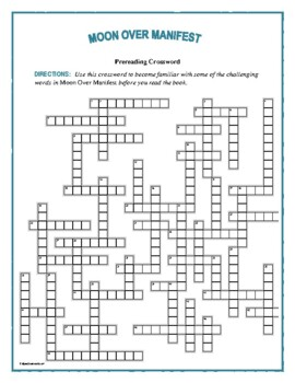 Moon Over Manifest: 50-Word Prereading Vocabulary Crossword