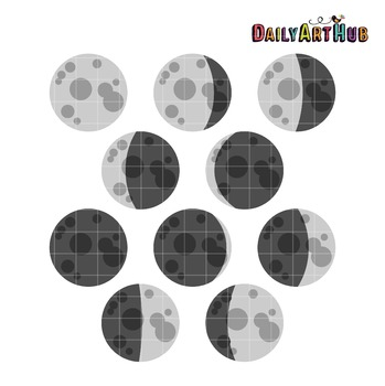 Moon Phases Art Clip Art - Great for Art Class Projects!
