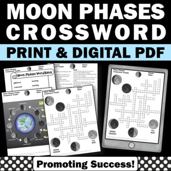 Phases of the Moon Crossword Puzzle No Prep Science Worksheet