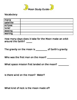 Moon Study Guide