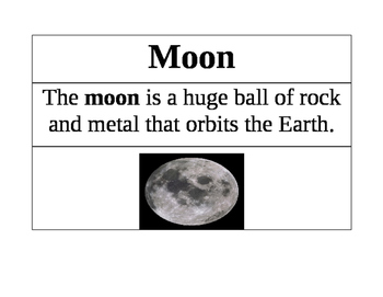 Moon Vocabulary Cards