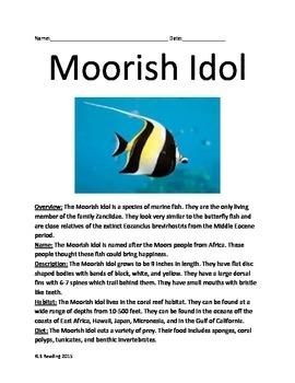 Moorish Idol - Fish - Informational Article Lesson questio