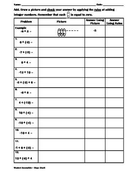More Adding Integers Worksheet